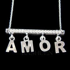 w Swarovski Crystal ~Bar Amor~ French Love France Jewelry Charm Necklace Collier