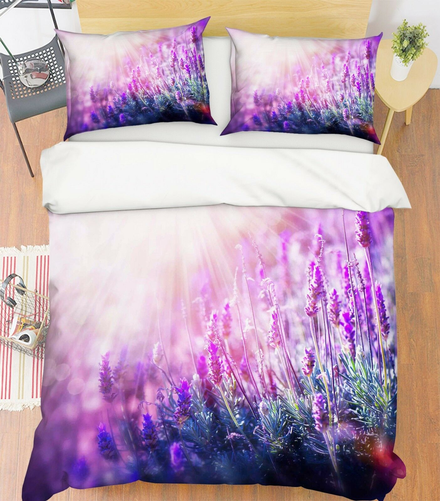 3d Beautiful Lavender 1 bett Cushion abdeckungs Stitch Duvet abdeckung Set Single Queen DE