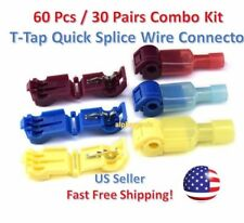 60pc T Taps Splice Wire Connector Insulated Spade Kit Electrical Crimp Terminals