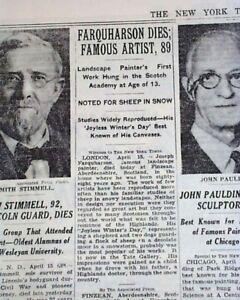 JOSEPH-FARQUHARSON-Scottish-Scotland-Landscapes-Painter-DEATH-1935-Newspaper