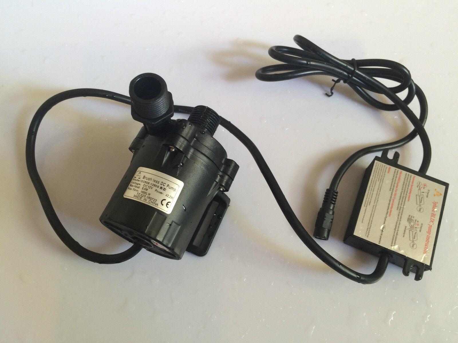 12V Micro Agua Caliente Bomba de circulación sin escobillas 50E-1280S 8m 1000LPH, Sumergible