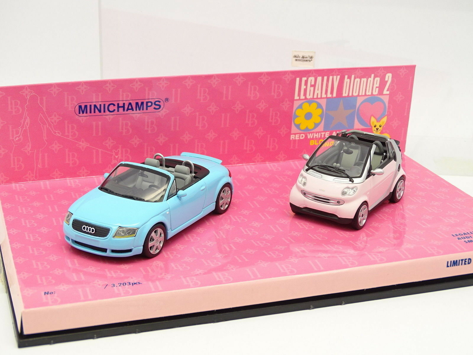 Minichamps 1 43 - Boxset Audi TT + Smart Cabriolet Legally Blonde 2