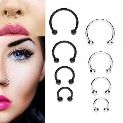 10PCS Stainless Steel Horseshoe Bar Lip Nose Septum Ear Ring Stud Piercing w*e
