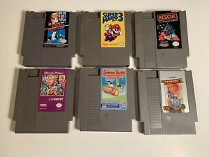 Lot of 6 NES Games, Super Mario 3, Mario Bros, Authentic Cleaned & Tested