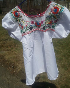Puebla-Mexican-Blouse-Top-Shirt-White-Embroidered-Flowers-Floral-Medium-X