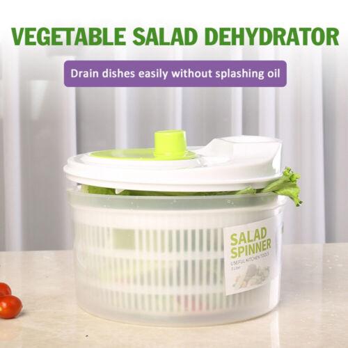 1X Large Plastic Salad Spinner Leaf Dryer Lettuce Veg Drainer Dressing Herb Home