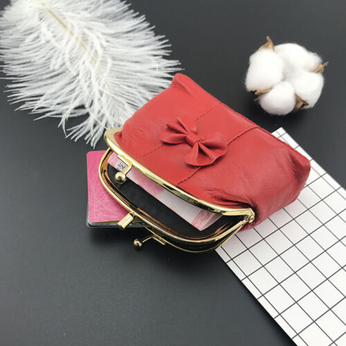 Genuine Leather Bowknot Change Purse Lady Coin Bag Women Wallet Mini Coin Purse