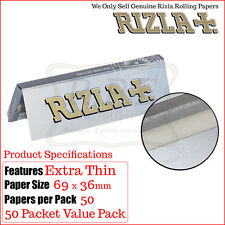 Silver Rizla Thin Regular Papers 50 Pack Deal - Free Delivery