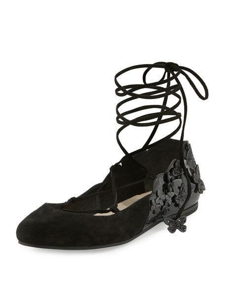 Sophia Webster Harmony Suede Tie-Up 3D Butterfly Flat, Black 37.5  595.00
