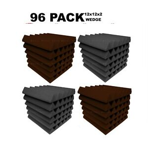 Acoustic-Foam-12x12x2-034-Wedge-96-Pack-Brown-Gray-Combo-Soundproof-recording-tile