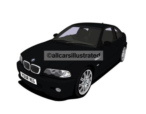 BMW M3 E46 CAR ART T-SHIRT PERSONALISE IT!