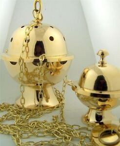 Brass-Church-Religious-Ceremony-Insense-Chained-Censer-and-Boat-with-Spoon-Set