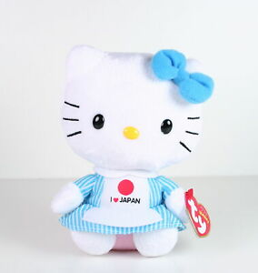 HELLO-KITTY-classic-I-LOVE-JAPAN-6-034-kitty-white-plush-soft-toy-beanie-baby-NEW
