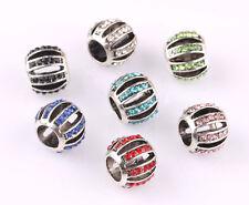 10pcs mix LAMPWORK CZ big hole spacer beads fit Charm European Bracelet #C560