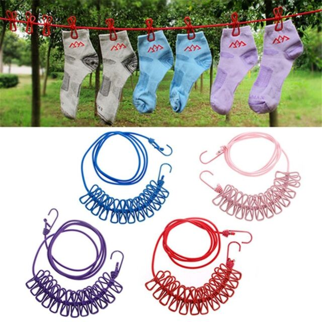 Portable Travel Elastic Clothesline with 12 Clamps Pegs Clips Hooks Outdoor