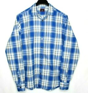UNTUCKIT-tall-regular-Long-Sleeve-Shirt-Plaid-Light-Flannel-men-039-s-size-Large