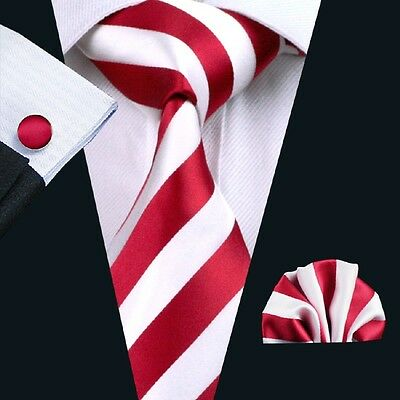 Classic Red White Mens Tie Stripe Necktie Set Jacquard Woven For Wedding Gift
