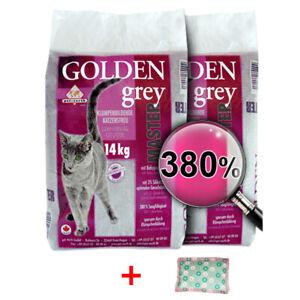 2 x 14kg Golden Grey Master Katzenstreu Klumpstreu + 4cats Baldriankissen