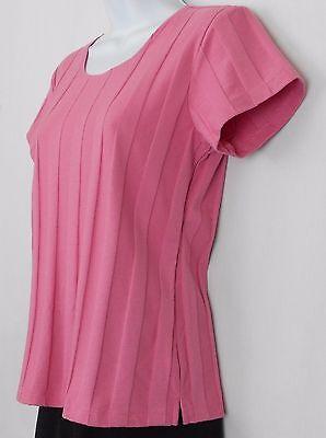 Denim Co Knit Top Size XS Pink Cotton Blend Short Sleeve Scoop Neck Shirt Womens