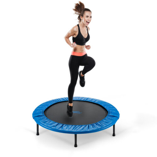 Mini Fitness Exercise Trampoline Rebounder Trampette Handrail Foldable w// Bag