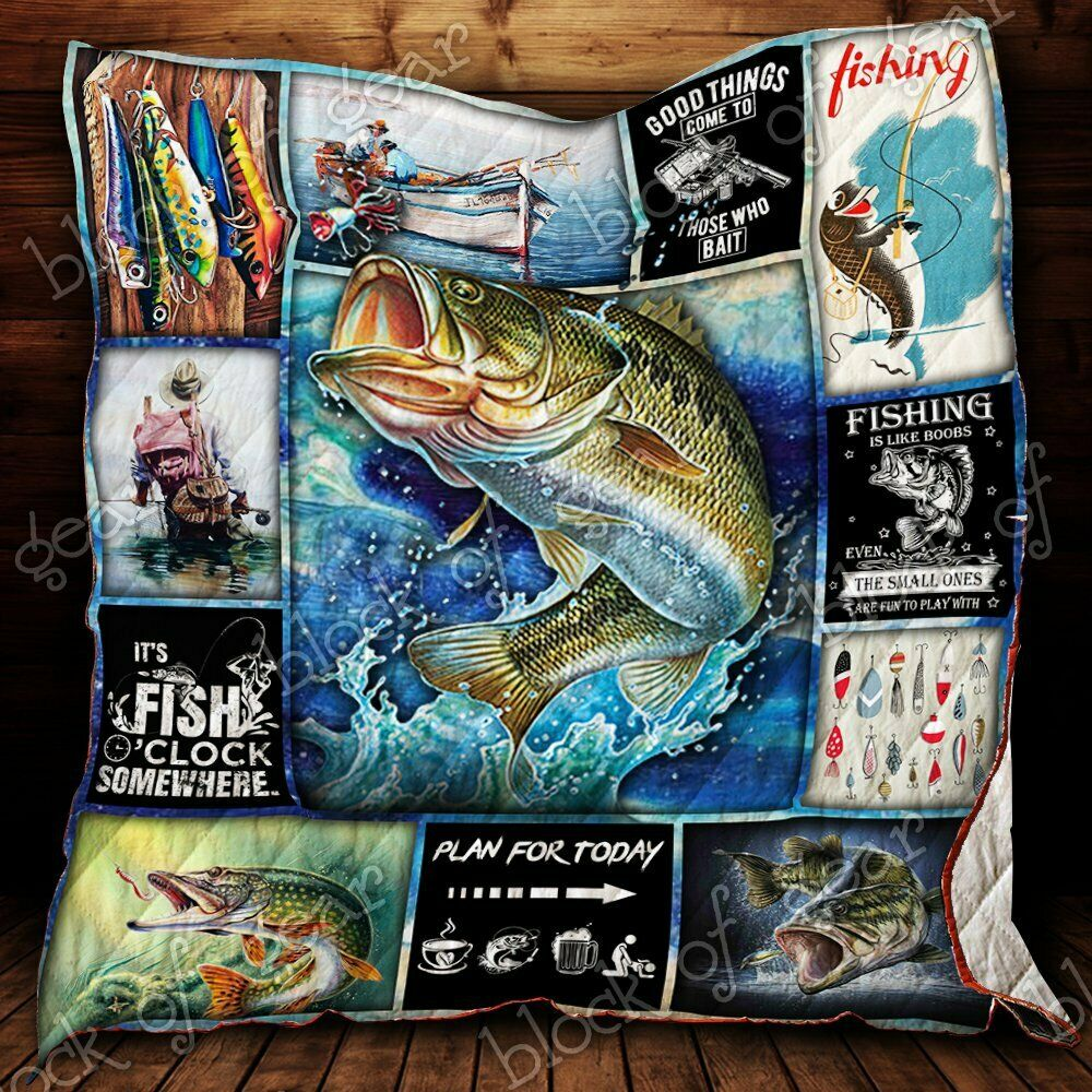 Fishing Time V1 Fleece Blanket 30x40 and 50x60 and 60x80 Made In US