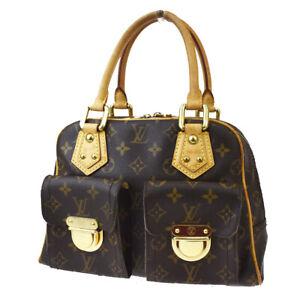 Auth LOUIS VUITTON Manhattan PM Hand Bag Monogram Leather Brown M40026 77MF842