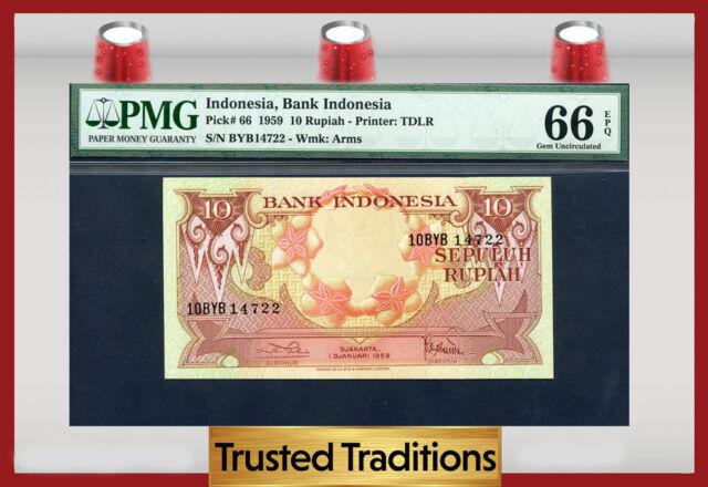 "TT PK 66 1959 INDONESIA 10 RUPIAH ""SALMON-CRESTED COCKATOOS"" PMG 66 EPQ GEM"
