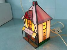 VINTAGE COLLECTABLE STAINED GLASS TIFFANY STYLE LAMP IN SHAPE OF A HOUSE / SHOP