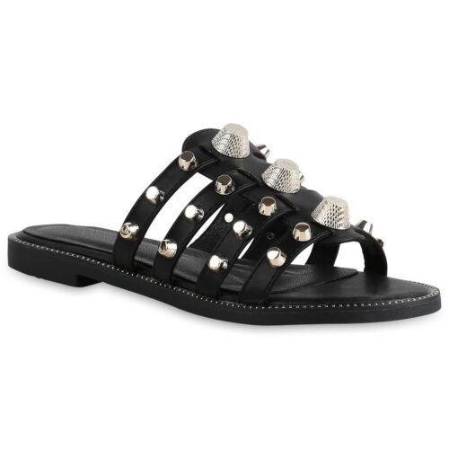 Damen Sandalen Pantoletten Nieten Leder-Optik Freizeit Schuhe 821690 Top