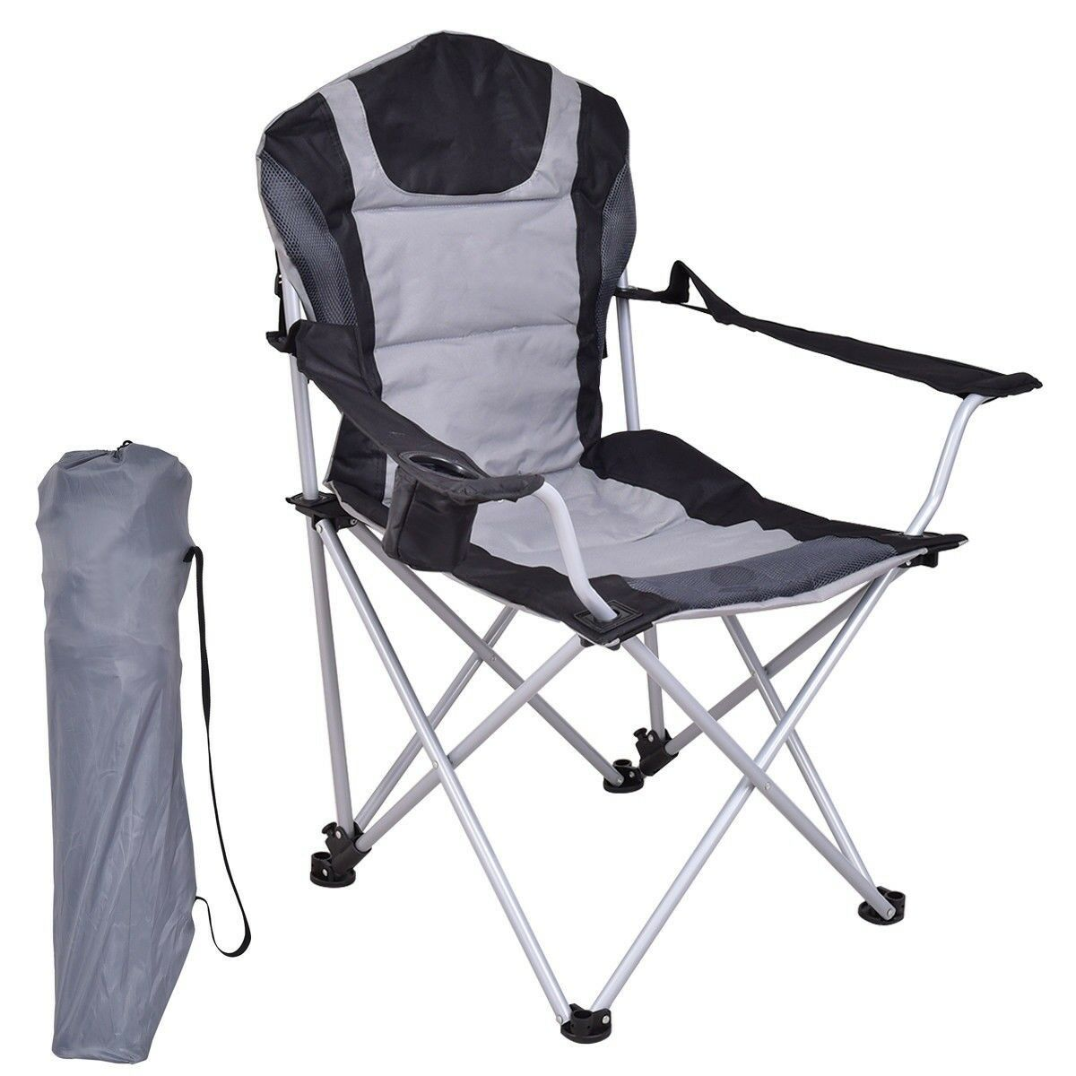 Outdoor Portable Fishing Stable Chair Seat w Cup  Holder Beach Camping Folding  comfortably