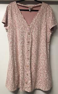 H&M Tunika Kleid Blumenkleid 2XL ( 42 44 46 48 ) rosa weiß ...