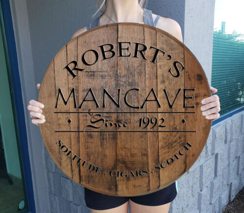 Gift Man Cave Custom Bar Sign Gift Personalized Whiskey Barrel Home decor