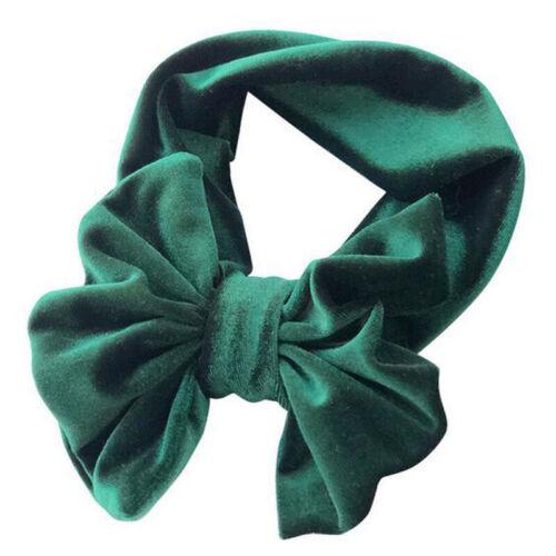 Baby Velvet Big Bow Ties Head Wrap Turban Top Knot Headband For Newborn Kids A1