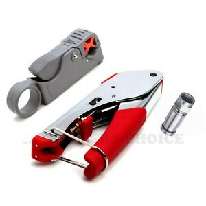 Coaxial cable cutter and crimper