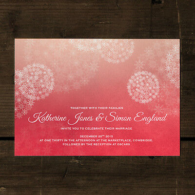 Winter Wonderland Wedding Invitation - Day Evening RSVP Save the Date Snowflakes