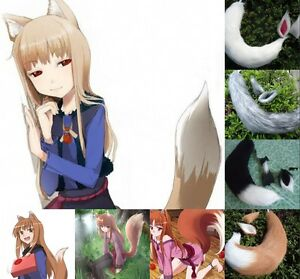 Spice and Wolf Holo Fox Ears Tail Cosplay Props Customes Long Plush Anime Party