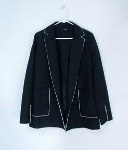 Theory Silk Oaklane Trench Coat , Size S, Deep Navy/Black
