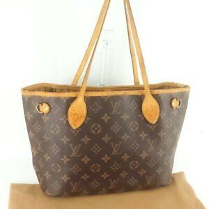 Auth-LOUIS-VUITTON-NEVERFULL-PM-Tote-Bag-Shopping-Purse-Monogram-M40155-Brown