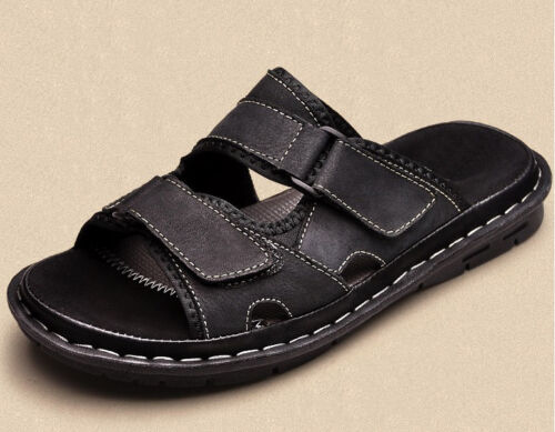 Size 5-12 PU Leather Men/'s Slippers Casual Beach Sandals Shoes Pull On Beach