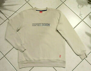 ESPRIT-Sweatshirt-Gr-S-beige-m-blauer-Schrift-100-Baumwolle-w-NEU