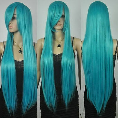 New extra long straight rapunzel tangled dark turquoise bangs cosplay hair wigs@