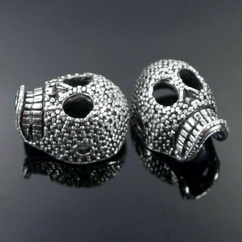 Skull B Solid Metal Spacer Beads Charms for Bracelets Jewelry Making