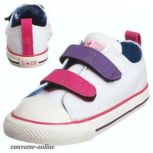 c1ef3e430b23 KIDS Baby Boys Girl CONVERSE All Star WHITE STRAP 3V Trainers Shoes ...