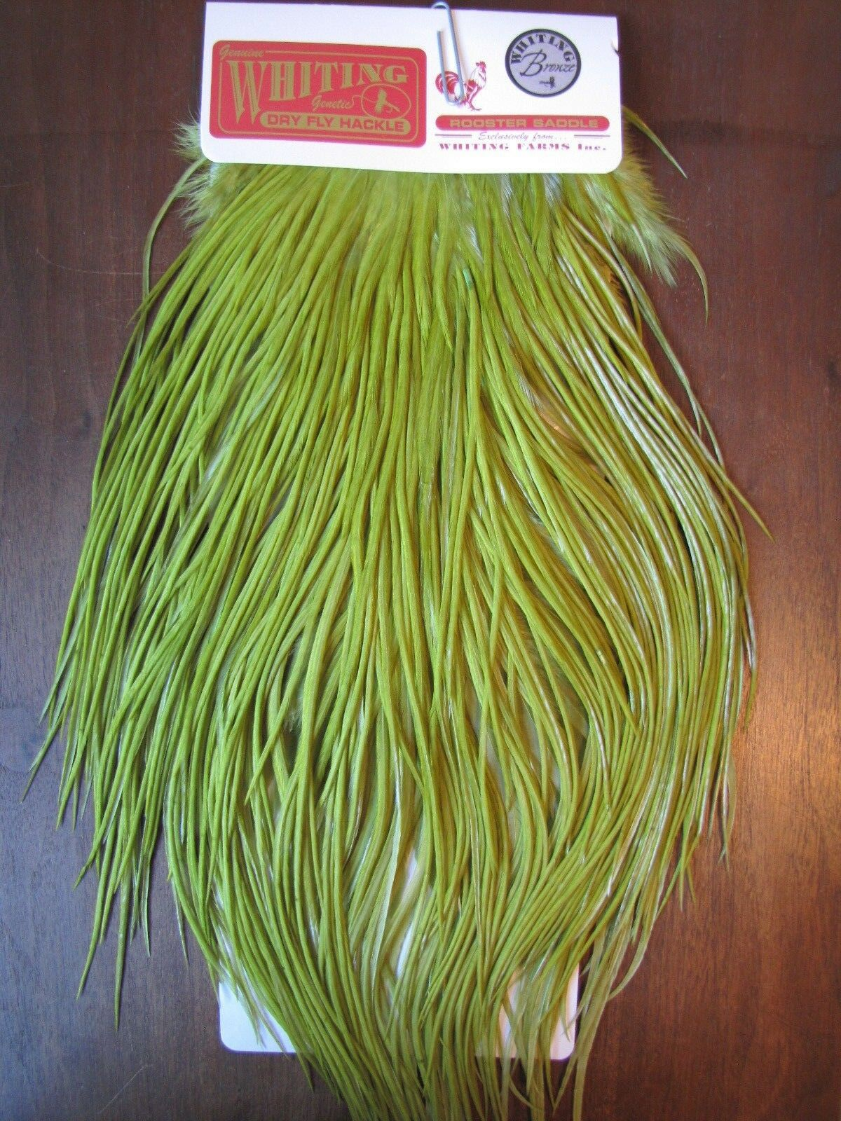 Fly Tying Whiting Bronze Rooster Saddle White dyed Olive  B