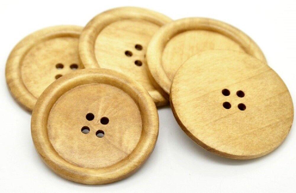 50 Stück Holzknöpfe 30mm 2 Löcher Rund Kaffeebraun Nähen Basteln Kleidung Deko