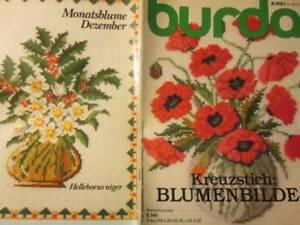 Burda-Kreuzstich-Blumenbilder-German-Monthly-Flower-Cross-Stitch-Booklet-E540