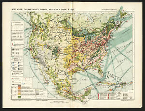 1930 Map Of Usa Mexico And South Canada By Ggk Vsnh Ussr Soviet