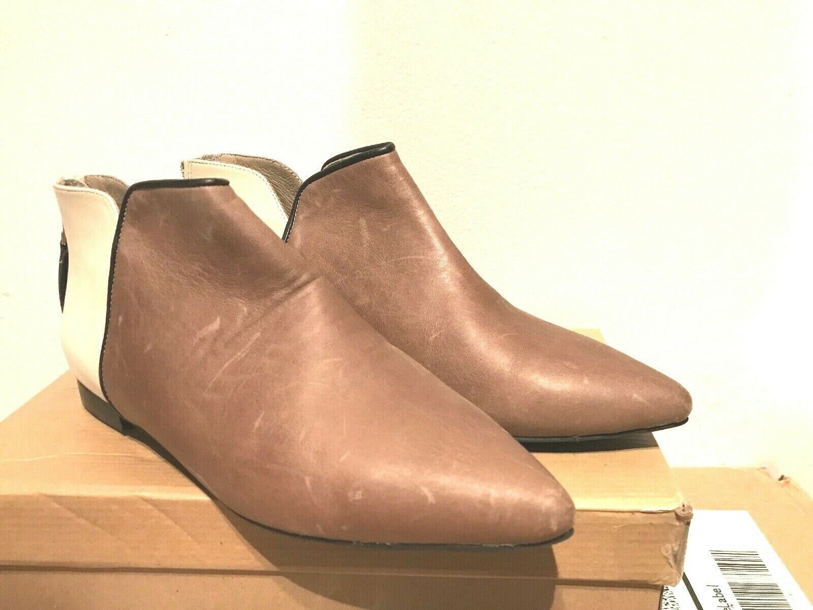 DANIELLA LEHAVI  TOULOUSE TAUPE BEIGE BEIGE BEIGE LEATHER ANKLE BOOTS 39   8  NEW 4b6613