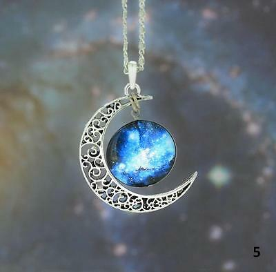 Stunning Galaxy Moon Crescent Nebula Space Antique Silver Pendant Charm Necklace