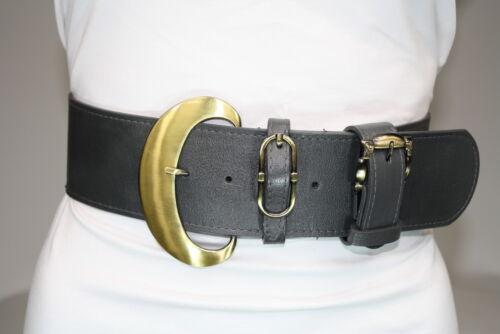 Damen Hüftgürtel Trensengürtel Breiter Taillengürtel Trense Gürtel Grau//Gold 95